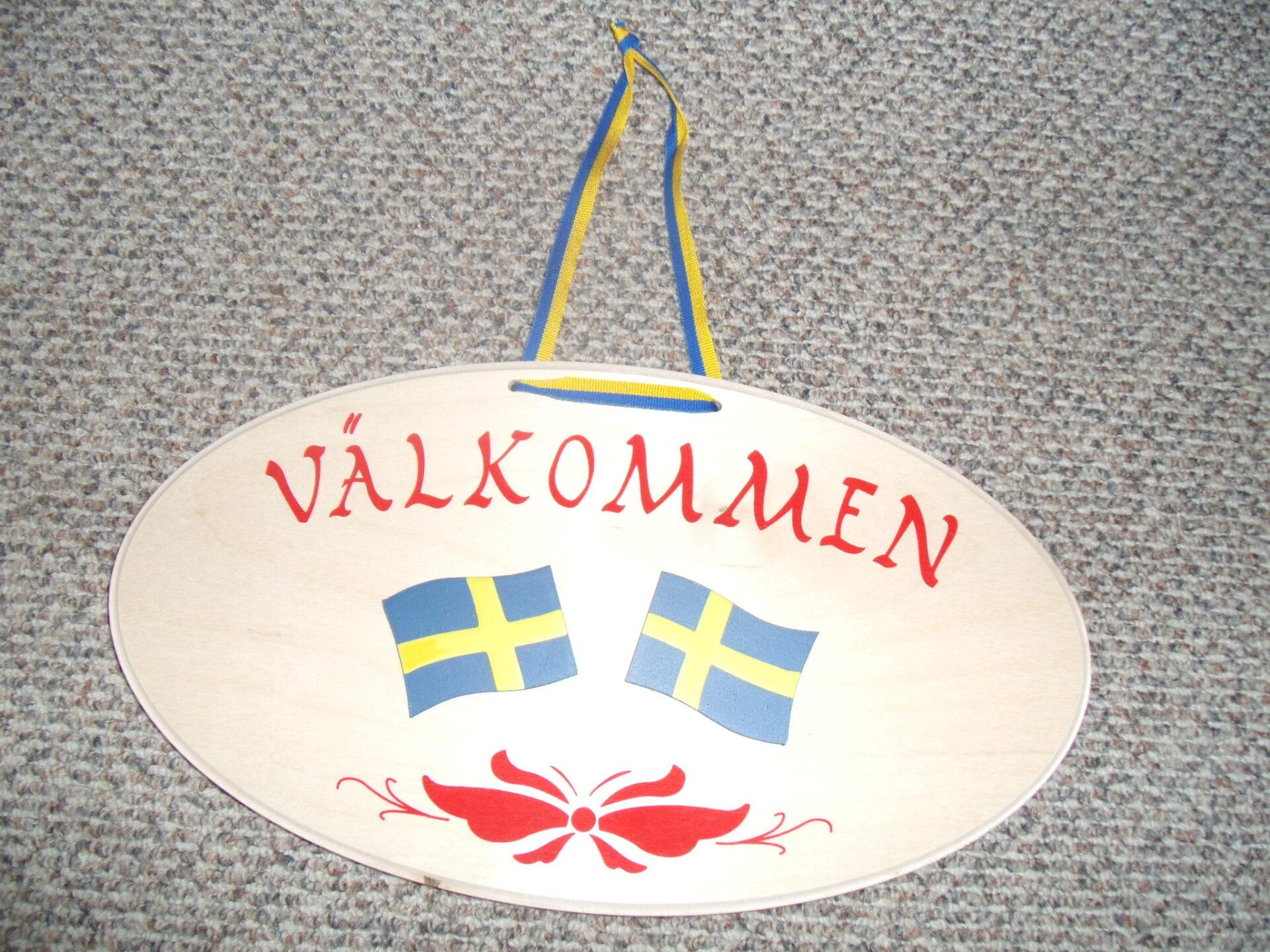 Willkommens-Türschild Schwedenflagge